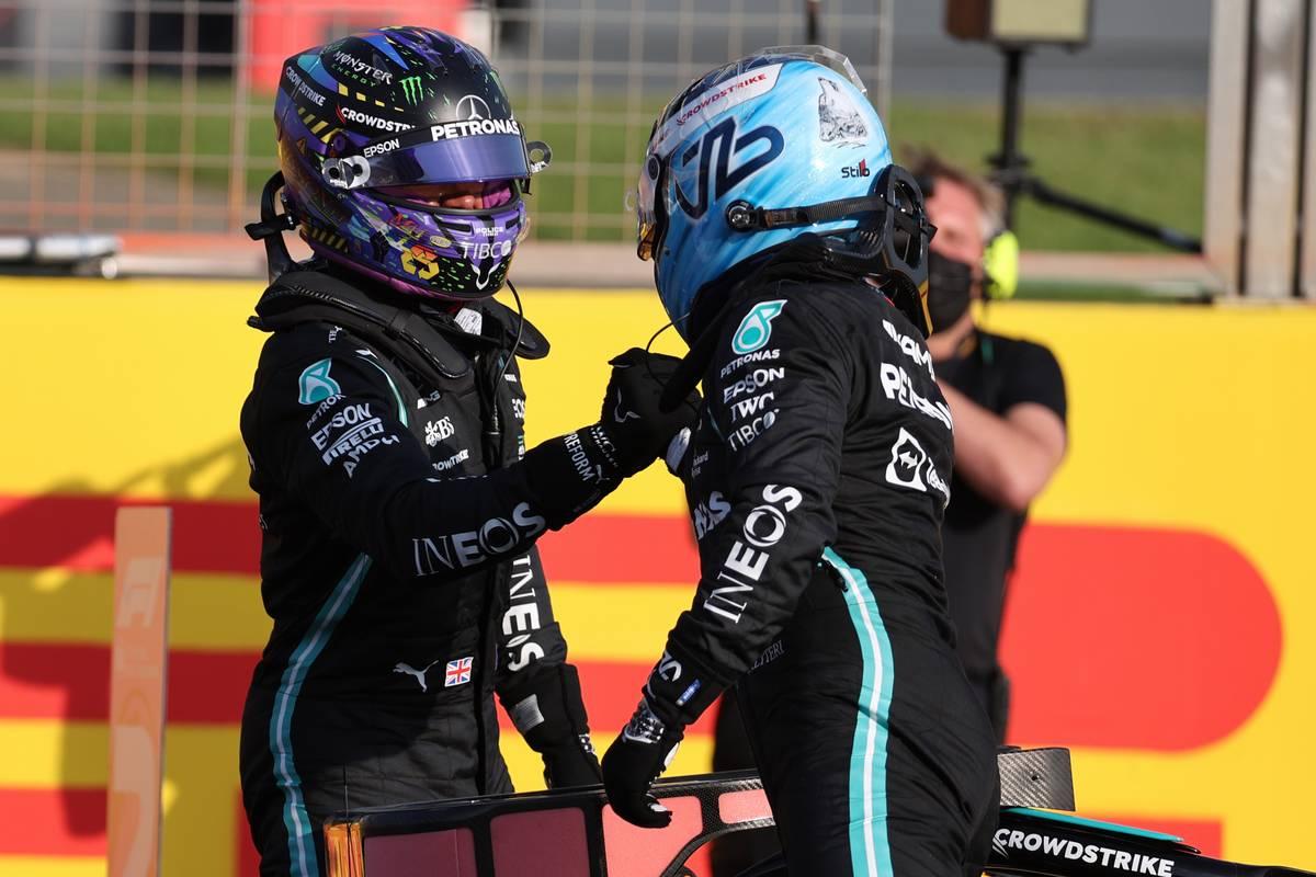 Fastest in Qualifying, Lewis Hamilton (GBR) Mercedes AMG F1 W12 with Valtteri Bottas (FIN) Mercedes AMG F1. 16.07.2021. Formula 1 World Championship, Rd 10, British Grand Prix, Silverstone