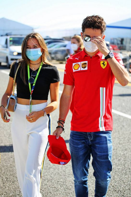 Charles Leclerc (MON) Ferrari with his girlfriend Charlotte Sine (MON). 17.07.2021. Formula 1 World Championship, Rd 10, British Grand Prix, Silverstone, England, Qualifying Day.  - www.xpbimages.com, EMail: requests@xpbimages.com © Copyright: Davenport / XPB Images