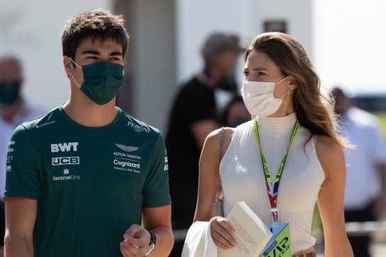 Lance Stroll (CDN) Aston Martin F1 Team with his girlfriend Sara Pagliaroli. 17.07.2021. Formula 1 World Championship, Rd 10, British Grand Prix, Silverstone, England, Qualifying Day. - www.xpbimages.com, EMail: requests@xpbimages.com © Copyright: Staley / XPB Images