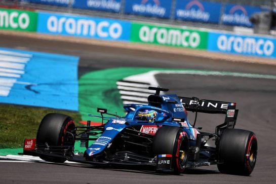 Fernando Alonso (ESP) Alpine F1 Team A521. 17.07.2021. Formula 1 World Championship, Rd 10, British Grand Prix, Silverstone, England, Qualifying Day. - www.xpbimages.com, EMail: requests@xpbimages.com © Copyright: Batchelor / XPB Images