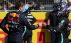 Max Verstappen (NLD) Red Bull Racing and Lewis Hamilton (GBR) Mercedes AMG F1. 17.07.2021. Formula 1 World Championship, Rd 10, British Grand Prix, Silverstone