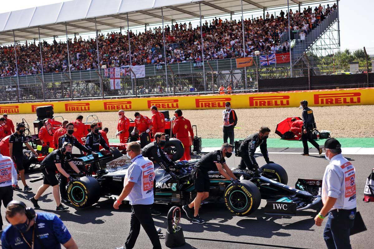 Lewis Hamilton (GBR) Mercedes AMG F1 W12 on the grid. 17.07.2021. Formula 1 World Championship, Rd 10, British Grand Prix, Silverstone