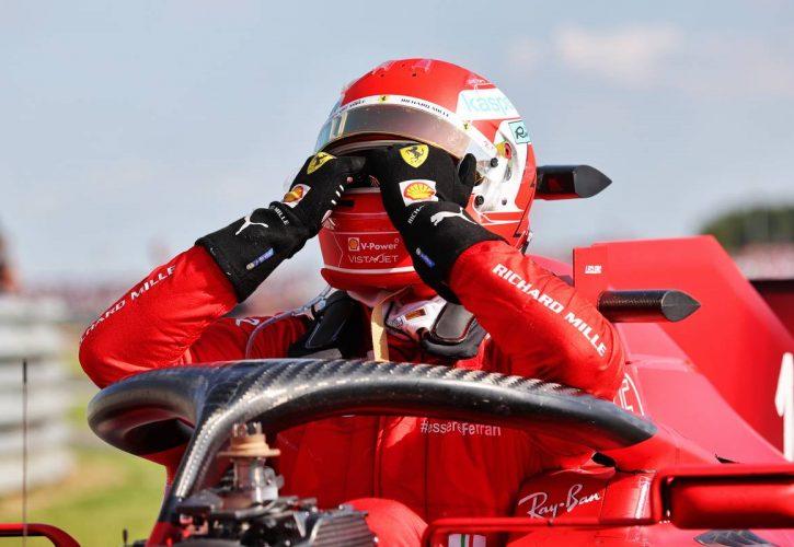 Second placed Charles Leclerc (MON) Ferrari SF-21 in parc ferme. 18.07.2021. Formula 1 World Championship, Rd 10, British Grand Prix, Silverstone