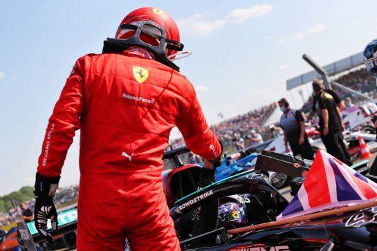 Second placed Charles Leclerc (MON) Ferrari congratulates race winner Lewis Hamilton (GBR) Mercedes AMG F1 W12 in parc ferme. 18.07.2021. Formula 1 World Championship, Rd 10, British Grand Prix, Silverstone, England, Race Day. - www.xpbimages.com, EMail: requests@xpbimages.com © Copyright: Batchelor / XPB Images