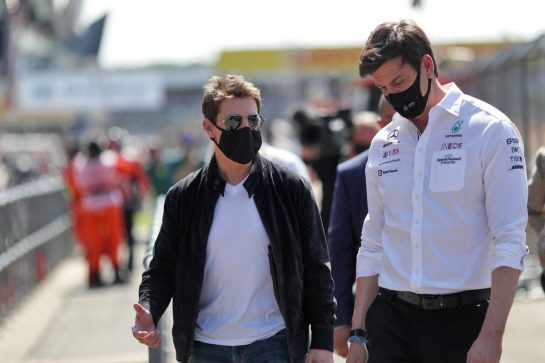 (L to R): Tom Cruise (USA) Actor, with Toto Wolff (GER) Mercedes AMG F1 Shareholder and Executive Director. 18.07.2021. Formula 1 World Championship, Rd 10, British Grand Prix, Silverstone, England, Race Day. - www.xpbimages.com, EMail: requests@xpbimages.com © Copyright: Staley / XPB Images