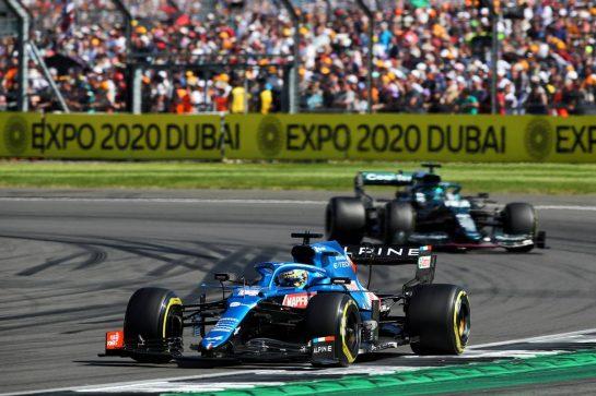 Fernando Alonso (ESP) Alpine F1 Team A521. 18.07.2021. Formula 1 World Championship, Rd 10, British Grand Prix, Silverstone, England, Race Day.  - www.xpbimages.com, EMail: requests@xpbimages.com © Copyright: Davenport / XPB Images