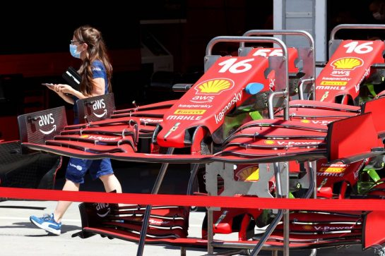 Ferrari SF-21 front wings.29.07.2021. Formula 1 World Championship, Rd 11, Hungarian Grand Prix, Budapest, Hungary, Preparation Day.- www.xpbimages.com, EMail: requests@xpbimages.com © Copyright: Batchelor / XPB Images