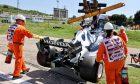The AlphaTauri AT02 of Yuki Tsunoda (JPN) AlphaTauri, who crashed in the first practice session. 30.07.2021. Formula 1 World Championship, Rd 11, Hungarian Grand Prix, Budapest