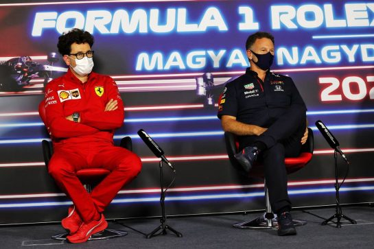 (L to R): Mattia Binotto (ITA) Ferrari Team Principal and Christian Horner (GBR) Red Bull Racing Team Principal in the FIA Press Conference. 30.07.2021. Formula 1 World Championship, Rd 11, Hungarian Grand Prix, Budapest, Hungary, Practice Day. - www.xpbimages.com, EMail: requests@xpbimages.com © Copyright: Moy / XPB Images