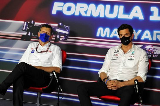 (L to R): Guenther Steiner (ITA) Haas F1 Team Prinicipal and Toto Wolff (GER) Mercedes AMG F1 Shareholder and Executive Director in the FIA Press Conference. 30.07.2021. Formula 1 World Championship, Rd 11, Hungarian Grand Prix, Budapest, Hungary, Practice Day. - www.xpbimages.com, EMail: requests@xpbimages.com © Copyright: Moy / XPB Images