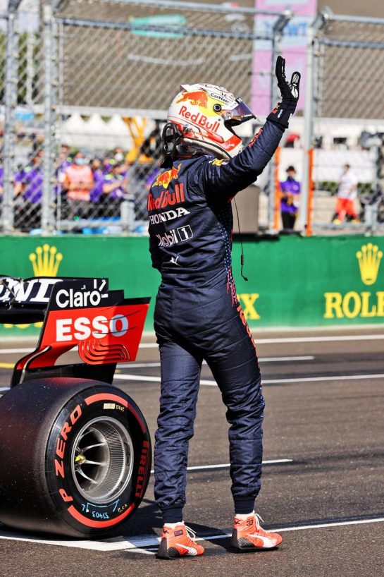 Max Verstappen (NLD) Red Bull Racing celebrates his third position in qualifying parc ferme. 31.07.2021. Formula 1 World Championship, Rd 11, Hungarian Grand Prix, Budapest, Hungary, Qualifying Day. - www.xpbimages.com, EMail: requests@xpbimages.com © Copyright: Moy / XPB Images