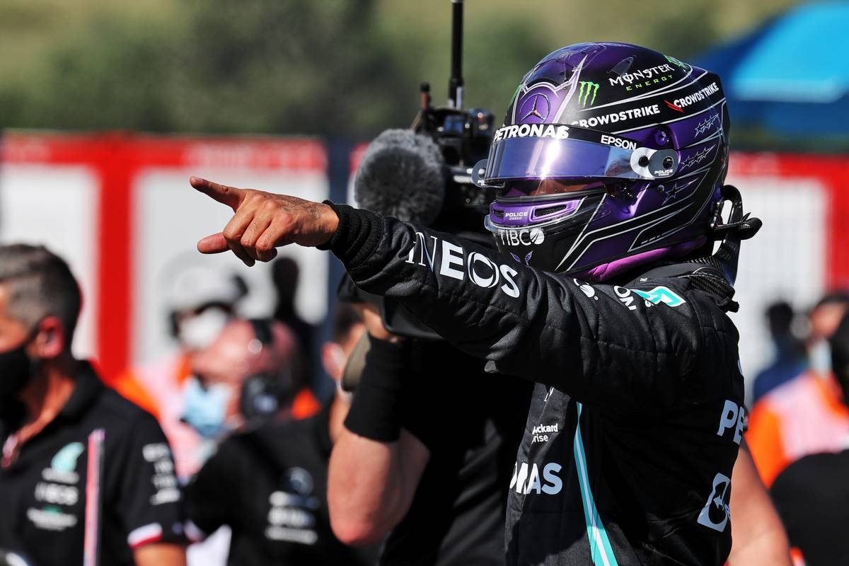 Lewis Hamilton (GBR) Mercedes AMG F1 celebrates his pole position in qualifying parc ferme. 31.07.2021. Formula 1 World Championship, Rd 11, Hungarian Grand Prix, Budapest