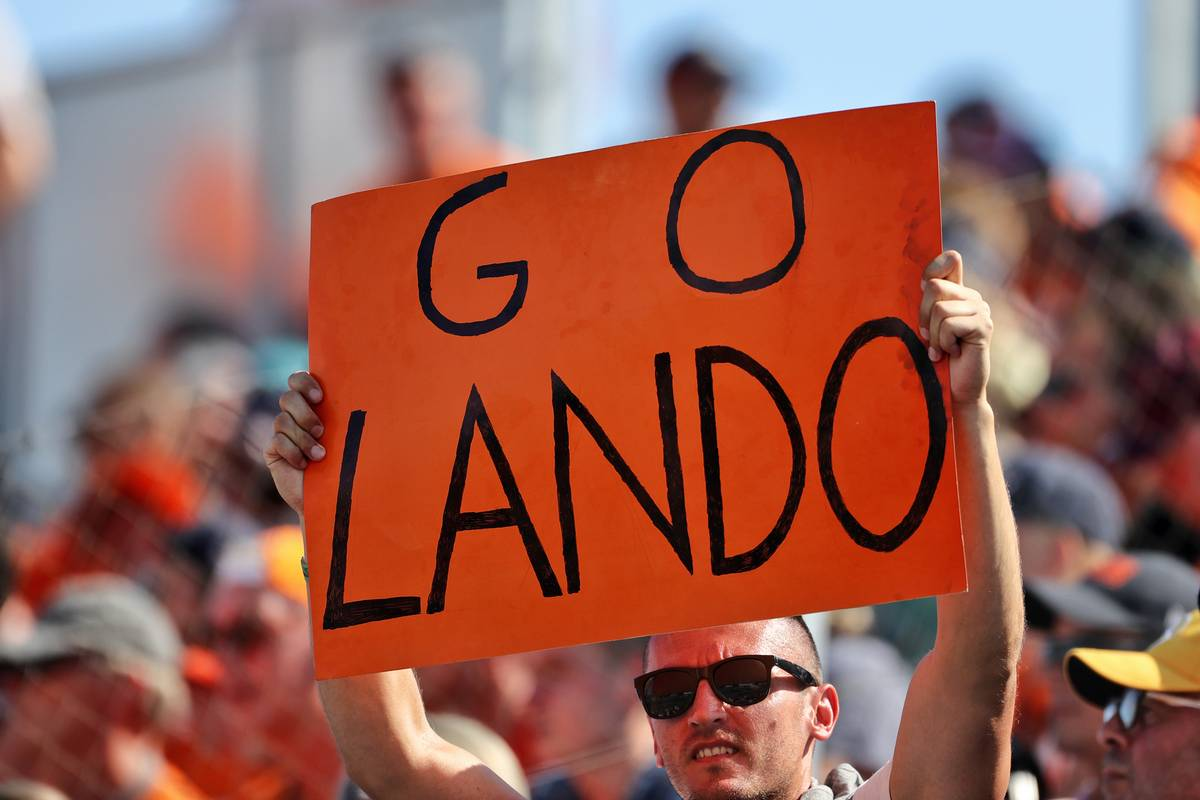 Circuit atmosphere - fans in the grandstand and a banner for Lando Norris (GBR) McLaren. 31.07.2021. Formula 1 World Championship, Rd 11, Hungarian Grand Prix, Budapest
