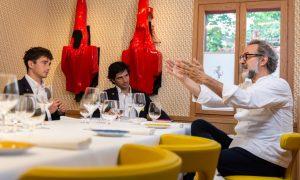 Leclerc and Sainz enjoy a debrief with Chef Massimo