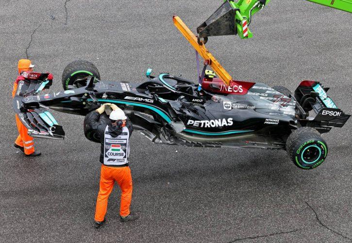 The damaged Mercedes AMG F1 W12 of Valtteri Bottas (FIN) Mercedes AMG F1. 01.08.2021. Formula 1 World Championship, Rd 11, Hungarian Grand Prix, Budapest