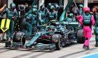 Sebastian Vettel (GER) Aston Martin F1 Team AMR21 makes a pit stop. 01.08.2021. Formula 1 World Championship, Rd 11, Hungarian Grand Prix, Budapest,
