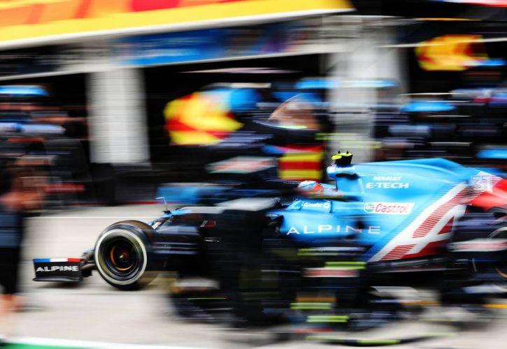 Esteban Ocon (FRA) Alpine F1 Team A521 makes a pit stop. 01.08.2021. Formula 1 World Championship, Rd 11, Hungarian Grand Prix, Budapest