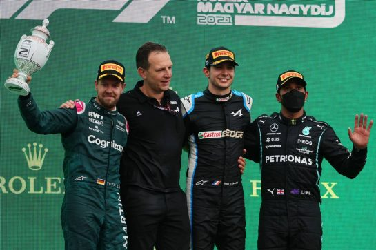 2nd Sebastian Vettel (GER) Aston Martin F1 Team AMR21 with Laurent Rossi (FRA) Alpine Chief Executive Officer, 1st place Esteban Ocon (FRA) Alpine F1 Team A521. and 3rd place Lewis Hamilton (GBR) Mercedes AMG F1 W12.01.08.2021. Formula 1 World Championship, Rd 11, Hungarian Grand Prix, Budapest, Hungary, Race Day.- www.xpbimages.com, EMail: requests@xpbimages.com © Copyright: Batchelor / XPB Images