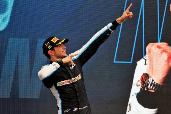 Race winner Esteban Ocon (FRA) Alpine F1 Team celebrates on the podium. 01.08.2021. Formula 1 World Championship, Rd 11, Hungarian Grand Prix, Budapest, Hungary, Race Day. - www.xpbimages.com, EMail: requests@xpbimages.com © Copyright: Batchelor / XPB Images