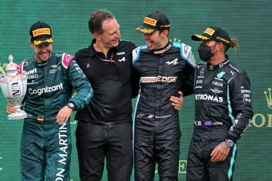The podium (L to R): Sebastian Vettel (GER) Aston Martin F1 Team, second; Laurent Rossi (FRA) Alpine Chief Executive Officer; Esteban Ocon (FRA) Alpine F1 Team, race winner; Lewis Hamilton (GBR) Mercedes AMG F1, third. 01.08.2021. Formula 1 World Championship, Rd 11, Hungarian Grand Prix, Budapest, Hungary, Race Day. - www.xpbimages.com, EMail: requests@xpbimages.com © Copyright: Moy / XPB Images