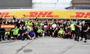 Alpine F1 Team celebrates victory for Esteban Ocon (FRA) Alpine F1 Team. 01.08.2021. Formula 1 World Championship, Rd 11, Hungarian Grand Prix, Budapest