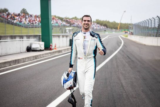 Nicholas Latifi (CDN) Williams Racing celebrates his eighth position. 01.08.2021. Formula 1 World Championship, Rd 11, Hungarian Grand Prix, Budapest, Hungary, Race Day. - www.xpbimages.com, EMail: requests@xpbimages.com © Copyright: Bearne / XPB Images