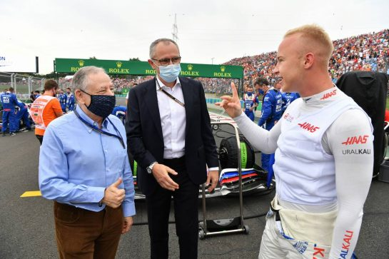 (L to R): Jean Todt (FRA) FIA President on the grid with Stefano Domenicali (ITA) Formula One President and CEO and Nikita Mazepin (RUS) Haas F1 Team. 01.08.2021. Formula 1 World Championship, Rd 11, Hungarian Grand Prix, Budapest, Hungary, Race Day. - www.xpbimages.com, EMail: requests@xpbimages.com © Copyright: FIA Pool Image for Editorial Use Only