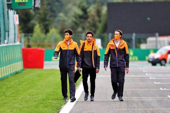 Lando Norris (GBR) McLaren walks the circuit with the team. 26.08.2021. Formula 1 World Championship, Rd 12, Belgian Grand Prix, Spa Francorchamps, Belgium, Preparation Day. - www.xpbimages.com, EMail: requests@xpbimages.com © Copyright: Batchelor / XPB Images