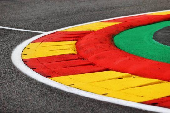 Circuit atmosphere - kerb detail. 26.08.2021. Formula 1 World Championship, Rd 12, Belgian Grand Prix, Spa Francorchamps, Belgium, Preparation Day. - www.xpbimages.com, EMail: requests@xpbimages.com © Copyright: Moy / XPB Images