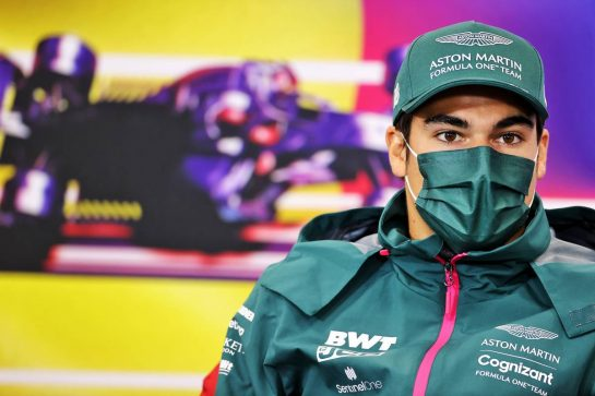 Lance Stroll (CDN) Aston Martin F1 Team in the FIA Press Conference. 26.08.2021. Formula 1 World Championship, Rd 12, Belgian Grand Prix, Spa Francorchamps, Belgium, Preparation Day. - www.xpbimages.com, EMail: requests@xpbimages.com © Copyright: Charniaux / XPB Images
