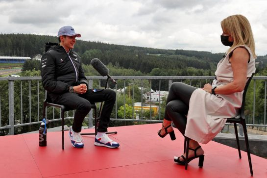 (L to R): Esteban Ocon (FRA) Alpine F1 Team with Rachel Brookes (GBR) Sky Sports F1 Reporter. 26.08.2021. Formula 1 World Championship, Rd 12, Belgian Grand Prix, Spa Francorchamps, Belgium, Preparation Day. - www.xpbimages.com, EMail: requests@xpbimages.com © Copyright: Moy / XPB Images