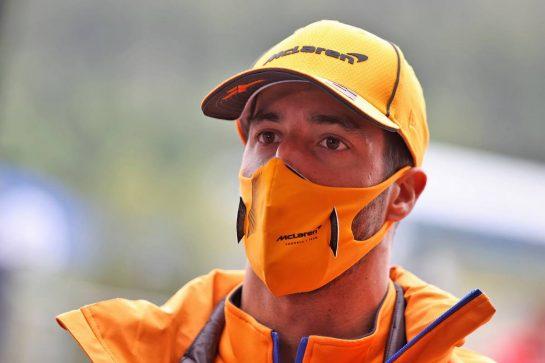 Daniel Ricciardo (AUS) McLaren. 26.08.2021. Formula 1 World Championship, Rd 12, Belgian Grand Prix, Spa Francorchamps, Belgium, Preparation Day. - www.xpbimages.com, EMail: requests@xpbimages.com © Copyright: Moy / XPB Images