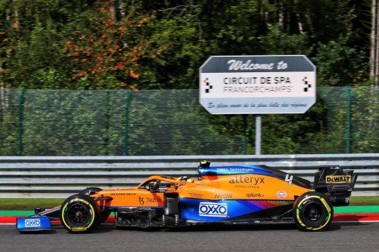 Lando Norris (GBR) McLaren MCL35M. 27.08.2021. Formula 1 World Championship, Rd 12, Belgian Grand Prix, Spa Francorchamps, Belgium, Practice Day. - www.xpbimages.com, EMail: requests@xpbimages.com © Copyright: XPB Images