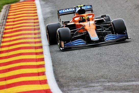 Lando Norris (GBR) McLaren MCL35M. 27.08.2021. Formula 1 World Championship, Rd 12, Belgian Grand Prix, Spa Francorchamps, Belgium, Practice Day. - www.xpbimages.com, EMail: requests@xpbimages.com © Copyright: Batchelor / XPB Images