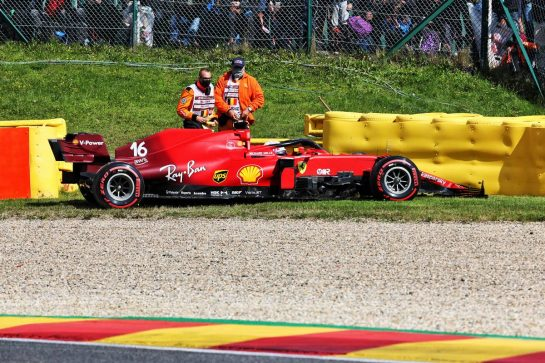 Charles Leclerc (MON) Ferrari SF-21 crashed in the second practice session. 27.08.2021. Formula 1 World Championship, Rd 12, Belgian Grand Prix, Spa Francorchamps, Belgium, Practice Day. - www.xpbimages.com, EMail: requests@xpbimages.com © Copyright: Batchelor / XPB Images