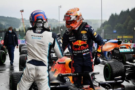 (L to R): George Russell (GBR) Williams Racing celebrates his second position in qualifying parc ferme with pole sitter Max Verstappen (NLD) Red Bull Racing RB16B. 28.08.2021. Formula 1 World Championship, Rd 12, Belgian Grand Prix, Spa Francorchamps, Belgium, Qualifying Day. - www.xpbimages.com, EMail: requests@xpbimages.com © Copyright: FIA Pool Image for Editorial Use Only
