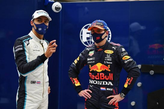 (L to R): second placed George Russell (GBR) Williams Racing in qualifying parc ferme with pole sitter Max Verstappen (NLD) Red Bull Racing. 28.08.2021. Formula 1 World Championship, Rd 12, Belgian Grand Prix, Spa Francorchamps, Belgium, Qualifying Day. - www.xpbimages.com, EMail: requests@xpbimages.com © Copyright: FIA Pool Image for Editorial Use Only