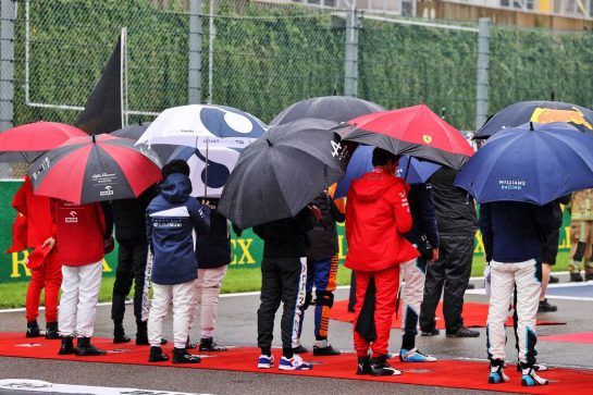 Drivers as the grid observes the national anthem. 29.08.2021. Formula 1 World Championship, Rd 12, Belgian Grand Prix, Spa Francorchamps, Belgium, Race Day. - www.xpbimages.com, EMail: requests@xpbimages.com © Copyright: Moy / XPB Images
