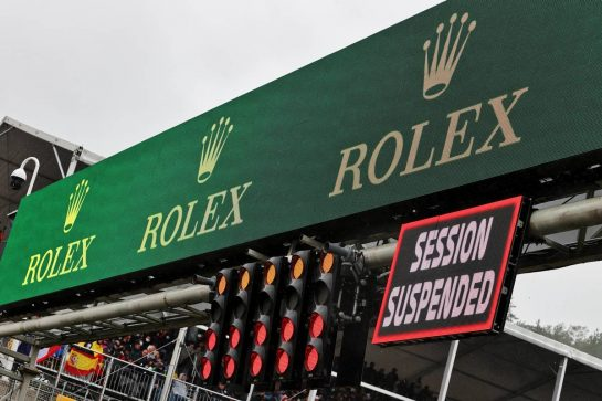 Circuit atmosphere - Race Suspended signs. 29.08.2021. Formula 1 World Championship, Rd 12, Belgian Grand Prix, Spa Francorchamps, Belgium, Race Day. - www.xpbimages.com, EMail: requests@xpbimages.com © Copyright: Moy / XPB Images