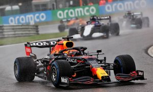 Verstappen and Russell lead two-lap Belgian GP parade