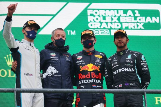 1st place Max Verstappen (NLD) Red Bull Racing RB16B, 2nd place George Russell (GBR) Williams Racing FW43B and 3rd place Lewis Hamilton (GBR) Mercedes AMG F1 W12.29.08.2021. Formula 1 World Championship, Rd 12, Belgian Grand Prix, Spa Francorchamps, Belgium, Race Day.- www.xpbimages.com, EMail: requests@xpbimages.com © Copyright: Batchelor / XPB Images