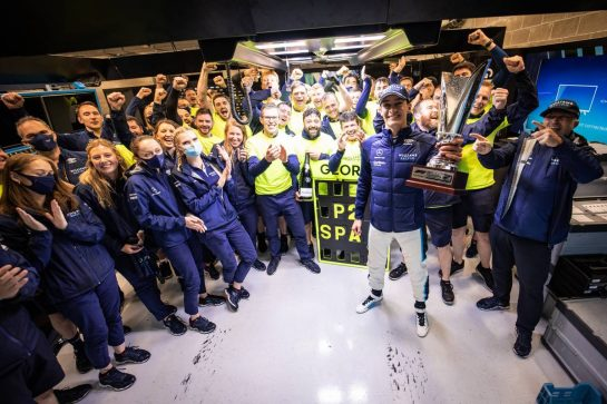 George Russell (GBR) Williams Racing celebrates his second position with the team. 29.08.2021. Formula 1 World Championship, Rd 12, Belgian Grand Prix, Spa Francorchamps, Belgium, Race Day. - www.xpbimages.com, EMail: requests@xpbimages.com © Copyright: Bearne / XPB Images