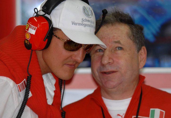 30.06.2007 Magny-Cours, France, Michael Schumacher (GER), Scuderia Ferrari, Advisor and Jean Todt (FRA), Scuderia Ferrari, Ferrari CEO - Formula 1 World Championship, Rd 8, French Grand Prix
