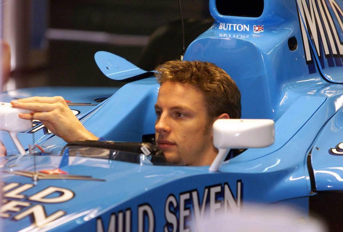 04.12.2000 Jerez, Spanien, Jenson Button heute bei Sitzprobe im Benetton vor den ersten Testfahrten fŸr die neue Formel 1 Saison im spanischen Jerez