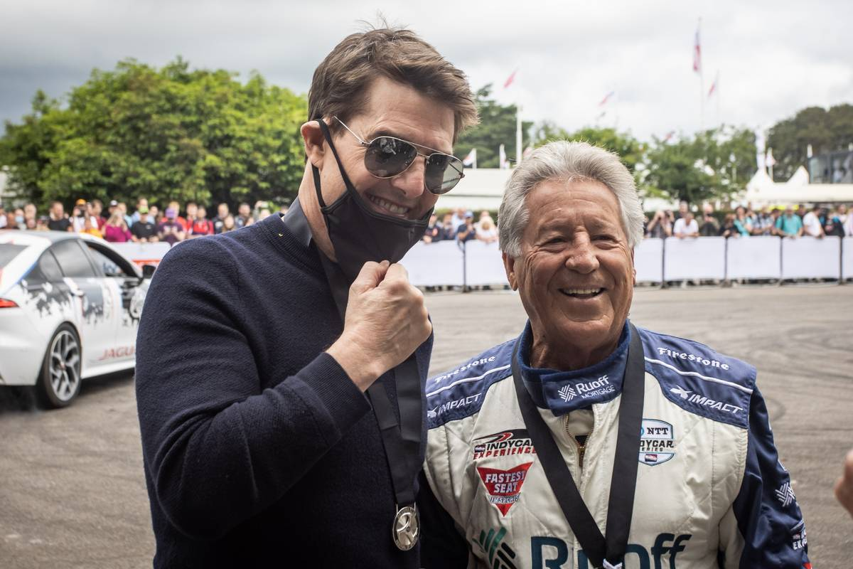 Tom Cruise with Mario Andretti (USA). 09-11.07.2021 Goodwood Festival of Speed