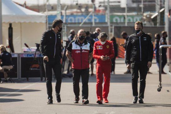 (L to R): Marcin Budkowski (POL) Alpine F1 Team Executive Director; Frederic Vasseur (FRA) Alfa Romeo Racing Team Principal; Laurent Mekies (FRA) Ferrari Sporting Director; and Laurent Rossi (FRA) Alpine Chief Executive Officer. 04.09.2021. Formula 1 World Championship, Rd 13, Dutch Grand Prix, Zandvoort, Netherlands, Qualifying Day. - www.xpbimages.com, EMail: requests@xpbimages.com © Copyright: Bearne / XPB Images