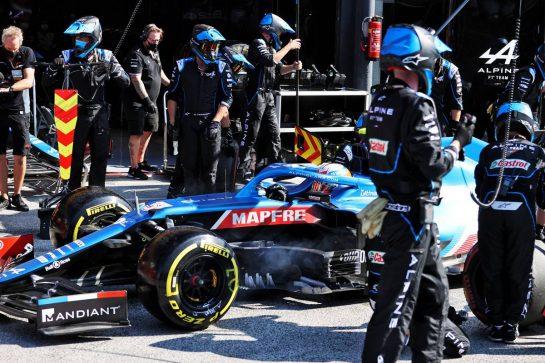 Esteban Ocon (FRA) Alpine F1 Team A521 makes a pit stop. 05.09.2021. Formula 1 World Championship, Rd 13, Dutch Grand Prix, Zandvoort, Netherlands, Race Day. - www.xpbimages.com, EMail: requests@xpbimages.com © Copyright: Moy / XPB Images