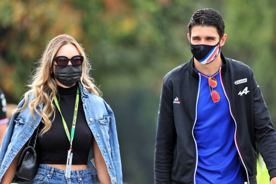 Esteban Ocon (FRA) Alpine F1 Team with his girlfriend Elena Berri (ITA). 10.09.2021. Formula 1 World Championship, Rd 14, Italian Grand Prix, Monza, Italy, Qualifying Day. - www.xpbimages.com, EMail: requests@xpbimages.com © Copyright: Batchelor / XPB Images