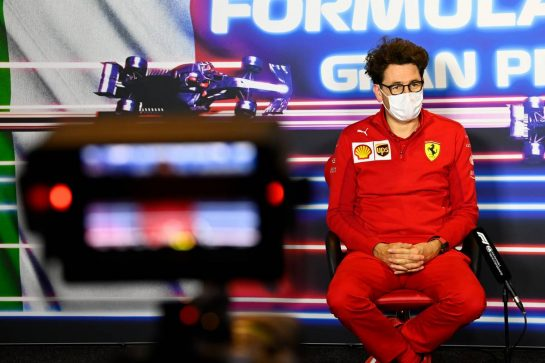 Mattia Binotto (ITA) Ferrari Team Principal in the FIA Press Conference. 10.09.2021. Formula 1 World Championship, Rd 14, Italian Grand Prix, Monza, Italy, Qualifying Day. - www.xpbimages.com, EMail: requests@xpbimages.com © Copyright: FIA Pool Image for Editorial Use Only