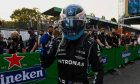 Valtteri Bottas (FIN) Mercedes AMG F1 celebrates being fastest in qualifying parc ferme. 10.09.2021. Formula 1 World Championship, Rd 14, Italian Grand Prix, Monza